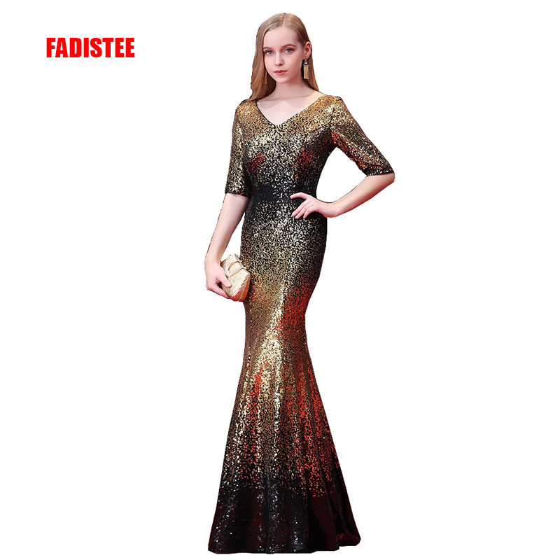 FADISTEE New arrival elegant party dress evening dresses Vestido de Festa gown bling sequin sexy stretch