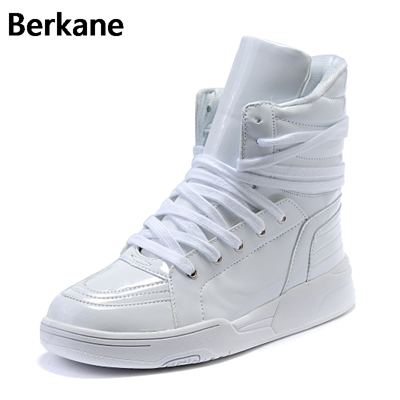 PU Leather Punk Hip Hop Shoes Men White Solid Color Dance Platform Flats Fashion Lace Increased Man High Top Zapatillas Hombre
