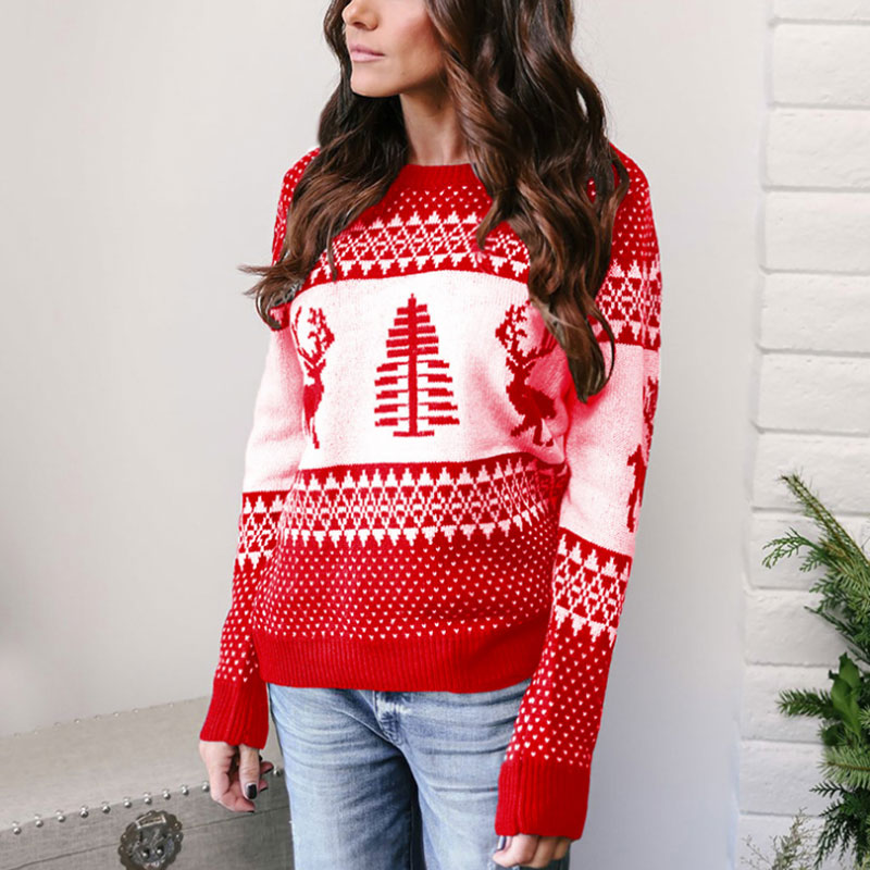 Sensfun Woman Christmas Sweaters Autumn Winter O-Neck Knitted Casual Warm Sweaters Female Knitted Pullover Tricot Jersey Jumper