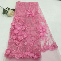 Latest Embroidery Pink 3d Flower French Lace Apliques Bridal Lace Rosette African Wedding Tulle Fabric X673 1