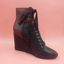 Boxing Day 2017  Gift Actual Botas Mujer Womens Boots Black Low cost Modest New Arrive Lace Up Customized Made Plus Measurement Wedges Trend Boots Chaussures Femme