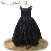 VARBOO_ELSA Sexy Sleeveless Evening Prom Dresses Ross Gold Bling Bling Evening Dress High Low Black Prom Dress vestido de novia