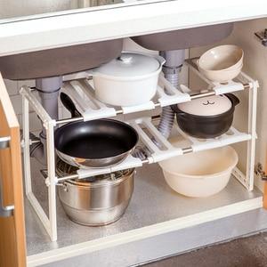 Image 2 - OTHERHOUSE ห้องครัวภายใต้อ่างล้างจานชั้นวางของ Double Layer หม้อหุงตู้สแตนเลสอ่างล้างจาน Rack