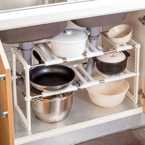 Image 2 - OTHERHOUSE Mutfak Lavabo Altında Depolama Raf Raf Çift Katmanlı Ocak Tutucu Dolabı Organizatör paslanmaz çelik mutfak lavabosu Raf