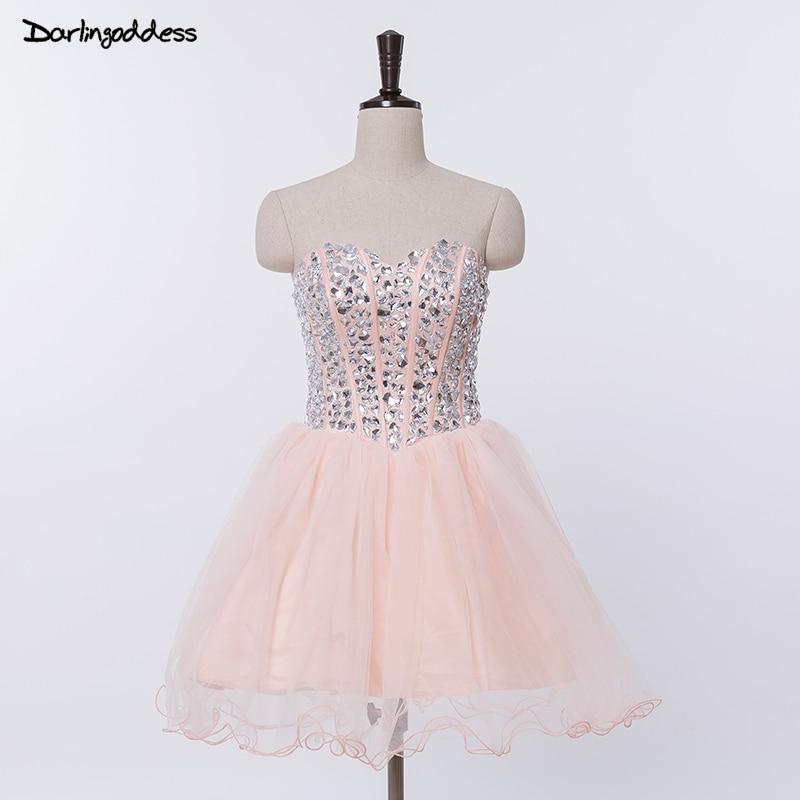 Darlingoddess Sexy Cocktail Dresses 2017 Corset Rhinestone Prom Dress Party Dress Knee Length Elegant Robe De Cocktail Gowns