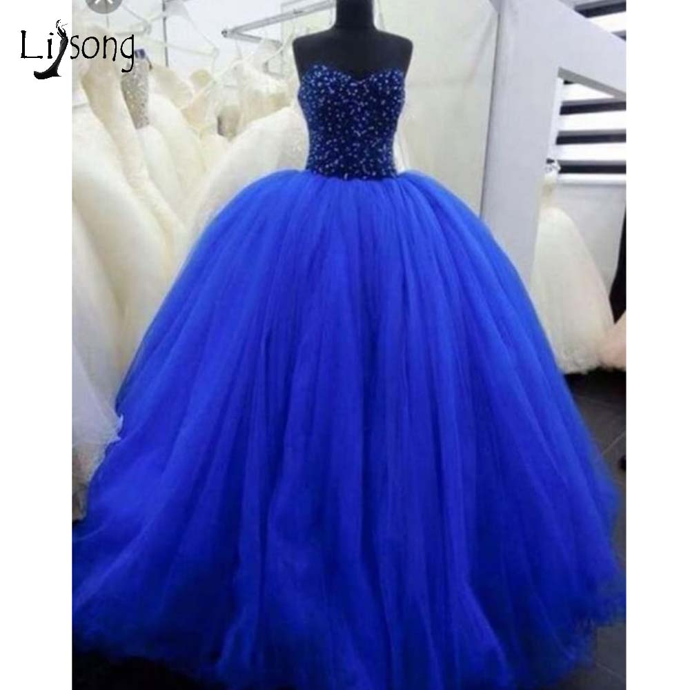 Dubai Royal Blue Crystal Tulle Ball Gowns 2019 Luxury Puffy Long   Prom     Dresses   Lace Up Plus Size   Prom   Gowns Robe De Soiree