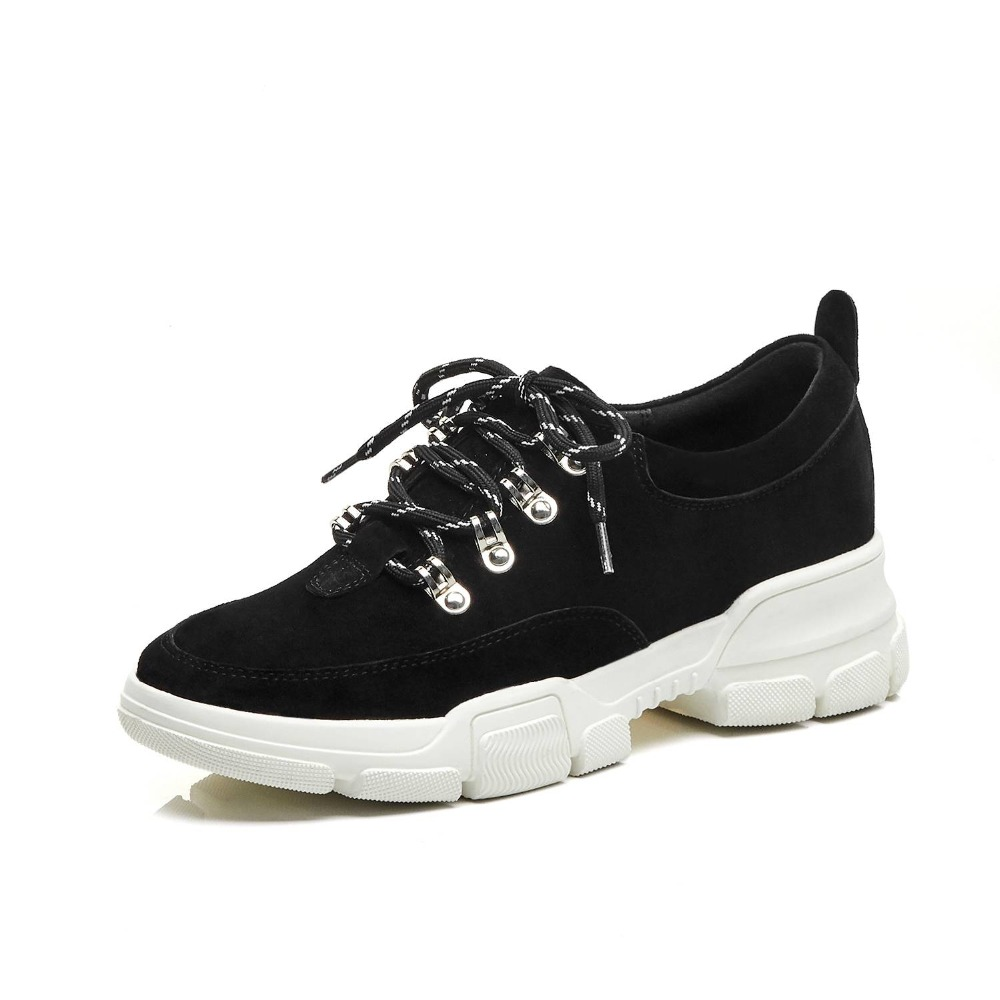 Lenkisen concise style pig leather thick bottom platform lace up sneakers preppy style campus daily wear vulcanized shoes L36-in Women's Vulcanize Shoes from Shoes    3