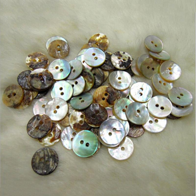 100PCS New <font><b>10mm</b></font> Natural Shell Sewing <font><b>Buttons</b></font> Color Mother Of Pearl Round Shell 2 Hole <font><b>Button</b></font> Wholesale image