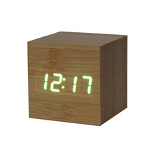 Modern Table Clock Fashion Digital LED Bamboo Wooden Wood Desk Alarm Brown Clock Voice Control Hot Sale Table Decor