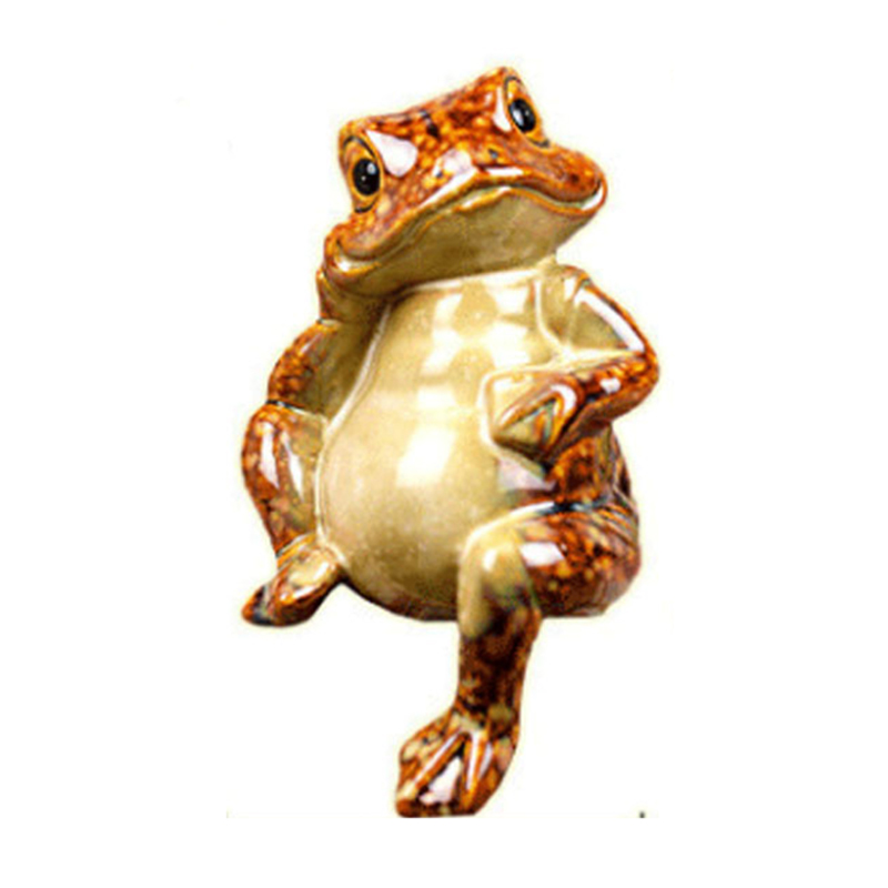 Feng Shui Lucky Frog Figurine Chinese Fortune Wealth Frog Home Office Bar Decor Figurines Ceramic Craft Ornament Good Lucky Gift