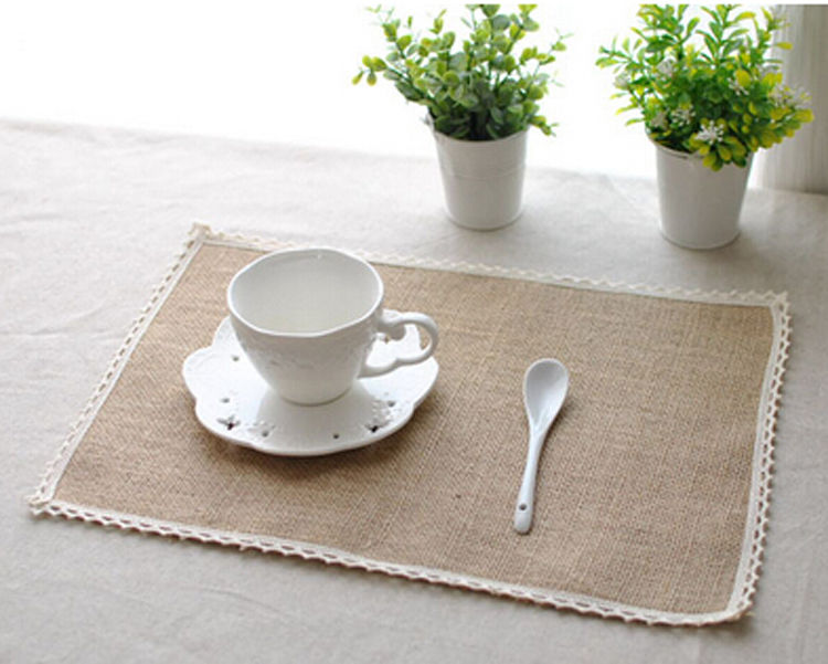 Natural Hessian Jute Burlap Table Placemats Rustic Home Wedding Decor Crafts Table Napkin
