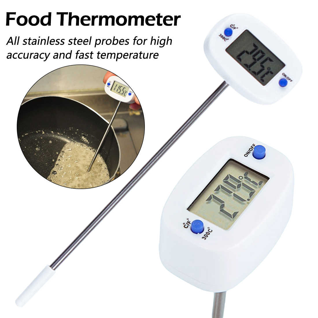 Rotatable Digital Food Thermometer BBQ Daging Cokelat Oven Air Susu Minyak Memasak Dapur Termometer Elektronik Probe