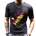 Russia USA Graffiti  Colorful Embroidered Sequins Parrot Summer  MenT-shirt Oversize Short Sleeve Top Lycra Cotton Streewear TOP