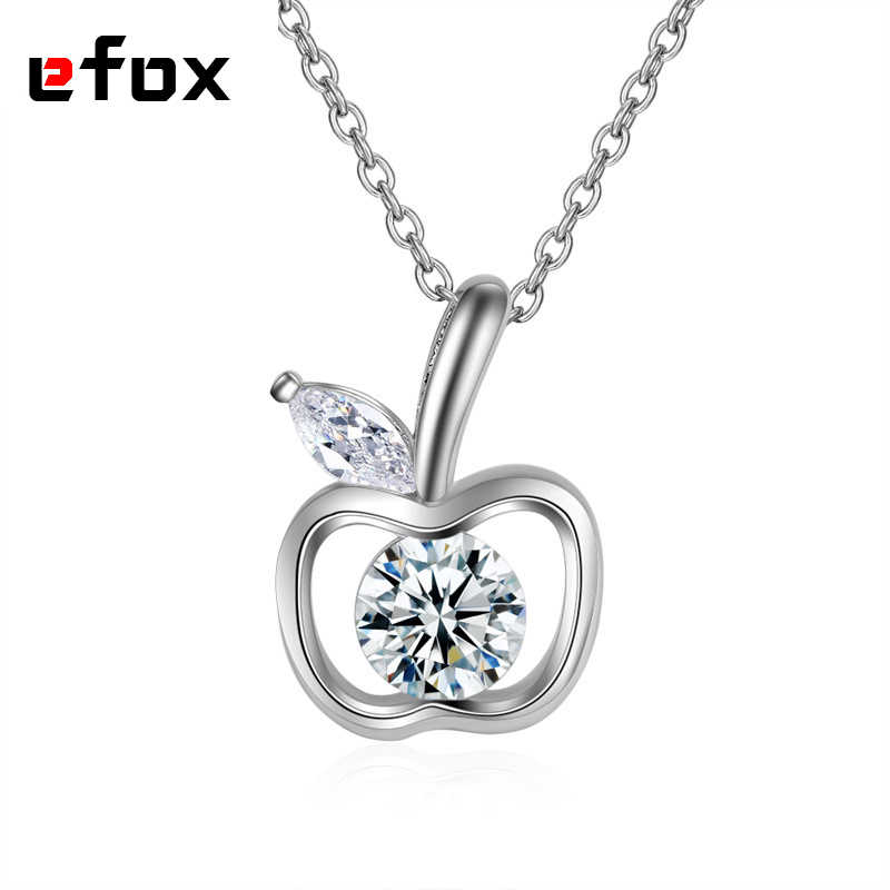Fashion Apple Pendants Charm Cute Crystal Necklace Pendant Women 925 Sterling Silver Jewelery