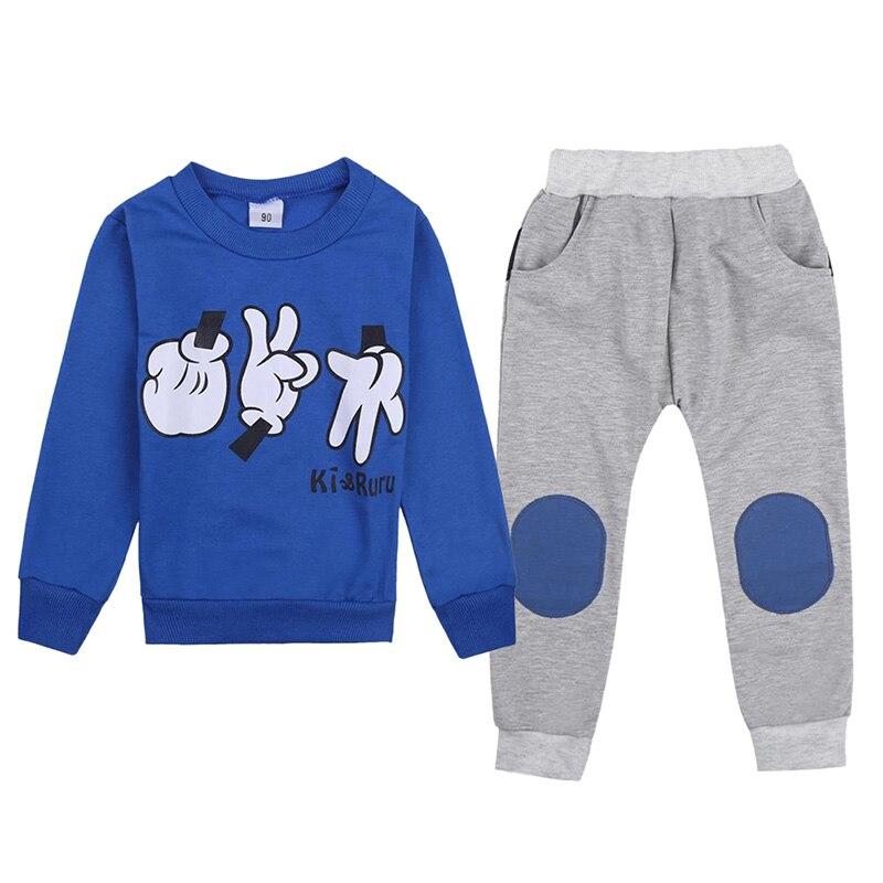 Autumn Winter Kids Clothes Set Baby Boys Sports Suit Finger Games Sweatshirt Top + Pants Tracksuits Children Outfit 2-7Y