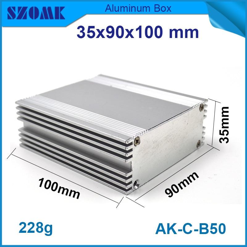 1 шт. бесплатная доставка серебристый радиатор алюминиевый приборный корпус для diy pcb широкий 35 х 90 х 100 мм
