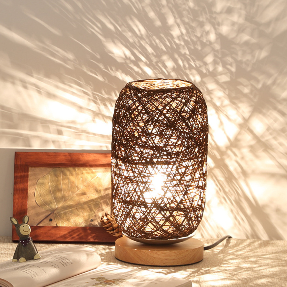 dimmable bedside lamp simple bedside wicker led desk table lamp light dimmable bedside lamp bedroom decoration night light creative birthday kids