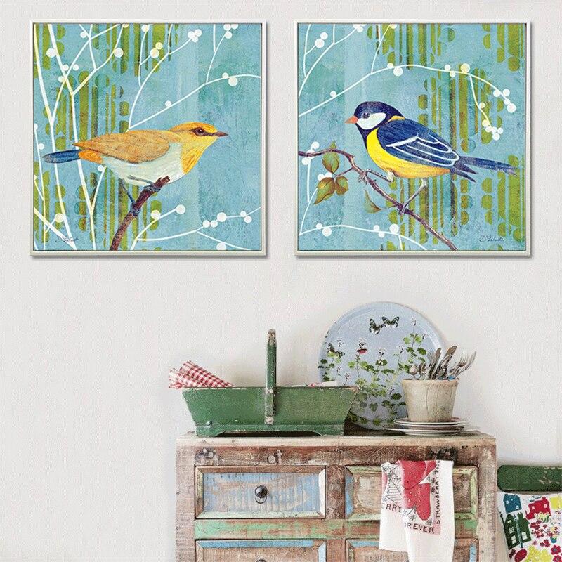 Pittura Moderna Americana.Us 4 39 12 Di Sconto Haochu Americano Paesaggio Rurale Blu Giallo Uccelli Tela Pittura Moderna Poster Da Parete Per La Camera Dei Bambini