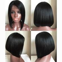 Short bob lace wigs silky straight full lace human wigs top quality human hair front lace wigs 130%density free shipping