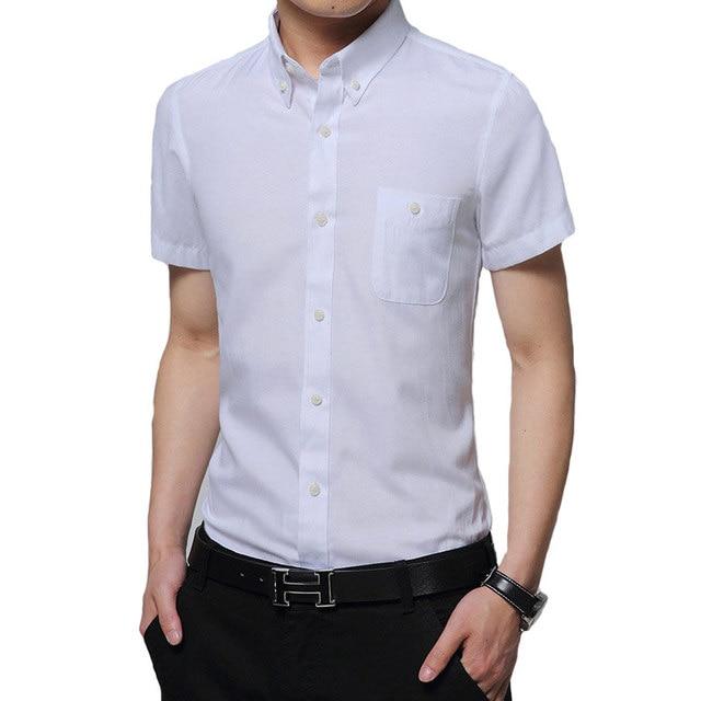 Famous Brand 2017 Men Shirt Short Sleeve Mens Shirts Slim Fit Casual Dress Shirt For Man Cotton Solid Color Summer Camisa Social