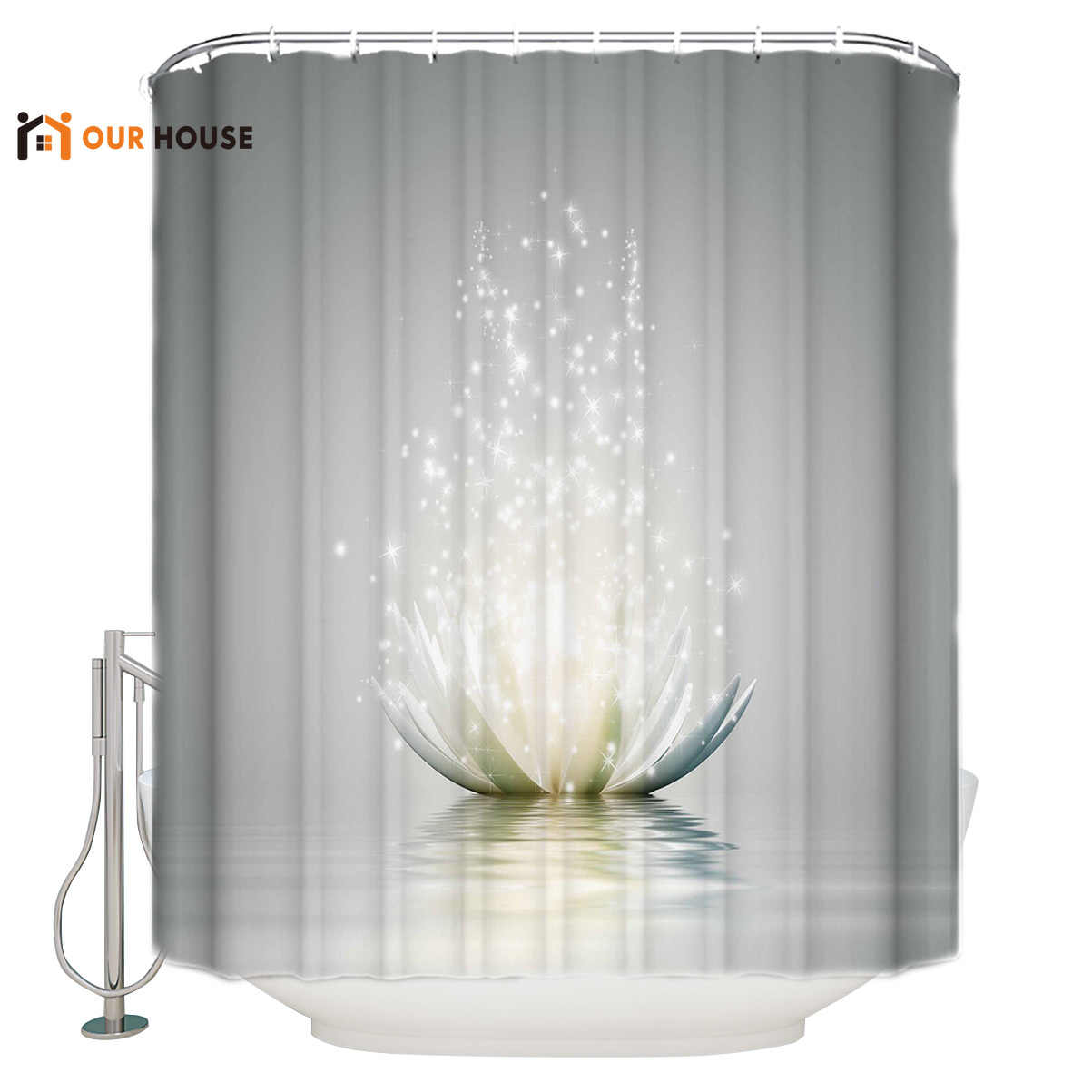 Abstract Lotus Shower Curtain Bathroom