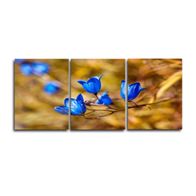 Laeacco Abstract 3 Panel Blooming Blue Flowers Garden Posters and Prints Wall Artwork Paintings Pictures Home Living Room Decor