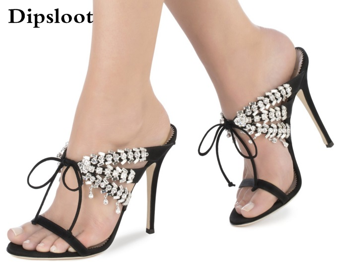 Summer New Brand Women Sexy Hot Pink/Black/Blue Satin Crystal Self-tie 115 mm Stiletto Heel Sandals Slip On Lace Up Party Shoes real image blue womens sandals cheap modest slip on new arrive hot ladies evening shoes custom made sandales femmes sexy