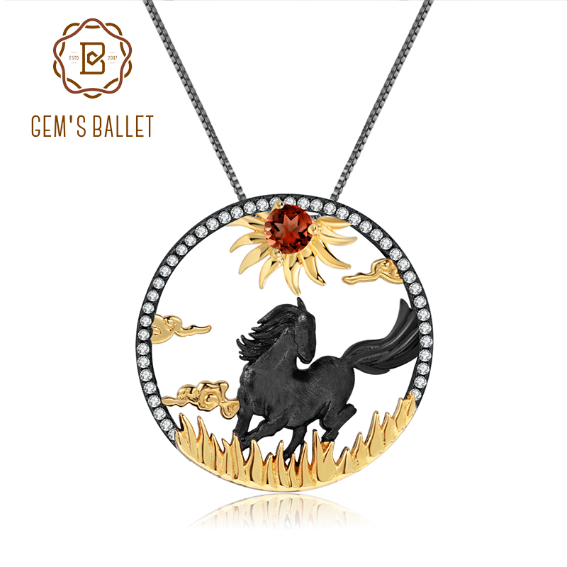 GEM'S BALLET 925 Sterling Silver Natural Red Garnet Gemstone Handmade Sun & Horse Pendant Necklace For Women Zodiac Jewelry