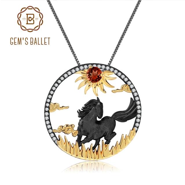 GEMS BALLET 925 Sterling Silver Natural Red Garnet Gemstone Handmade Sun & Horse Pendant Necklace For Women Zodiac Jewelry