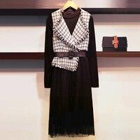 autumn winter new 2018 women 2 pieces dress sets office lady elegant dresses suits top quality