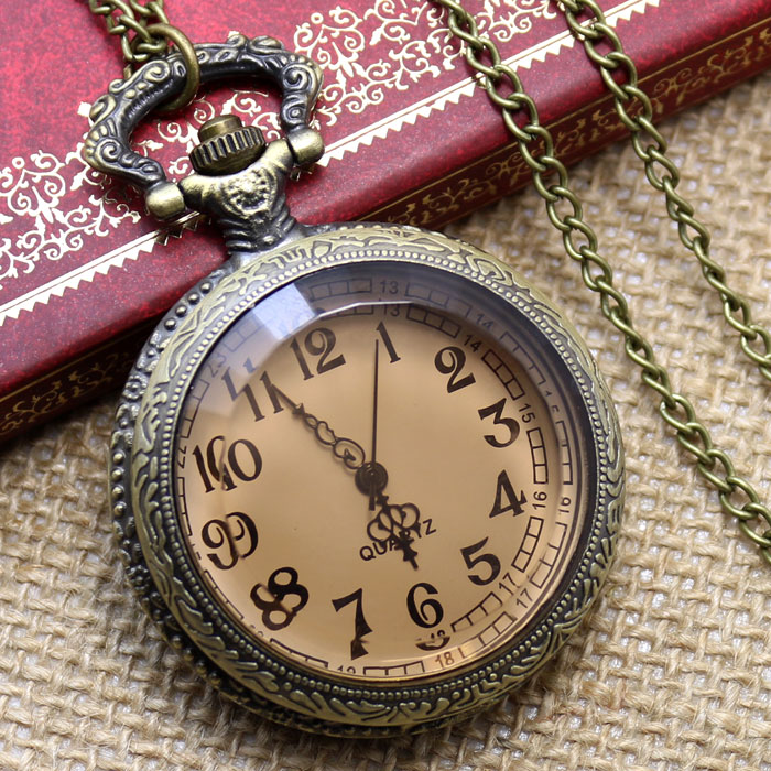 New Retro Vintage Pocket Watch Brown Glass For A Gift Brand Antique Steam Punk Quartz Necklace Accessory Pendant Free Shipping