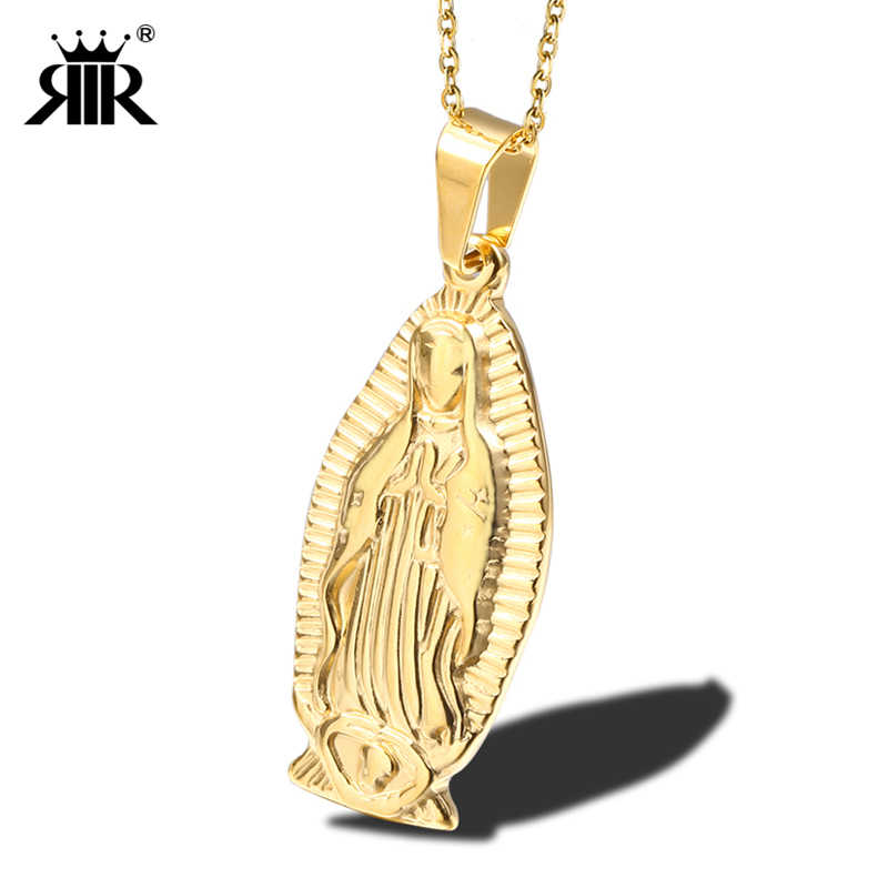 RIR OUR LADY OF GUADALUPE Pendant Necklace Round Stainless