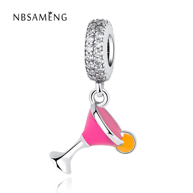 8eacf0bf6 Authentic 925 Sterling Silver Cocktail Glass Pendant With Crystal DIY Bead  Charms Fit Pandora Women Bracelets