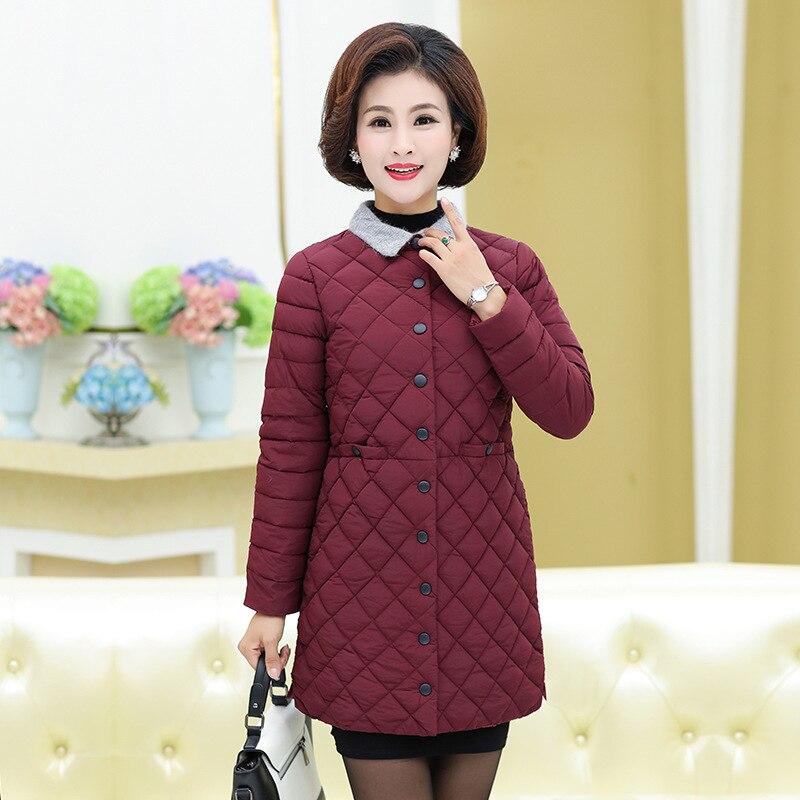 2018 3 2 De Veste Mince D'âge Femmes Nouveau Et Moyen Longue Vieux Style 4 Hiver Minceur Coton 1 Manteau xZtwqadw5