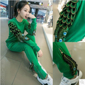 SusanDick Fashion New Casual Winter Suit Female Personality Peacock Wings Slim Cotton Sweatshirt & Pants Two Piece Set Tracksuit