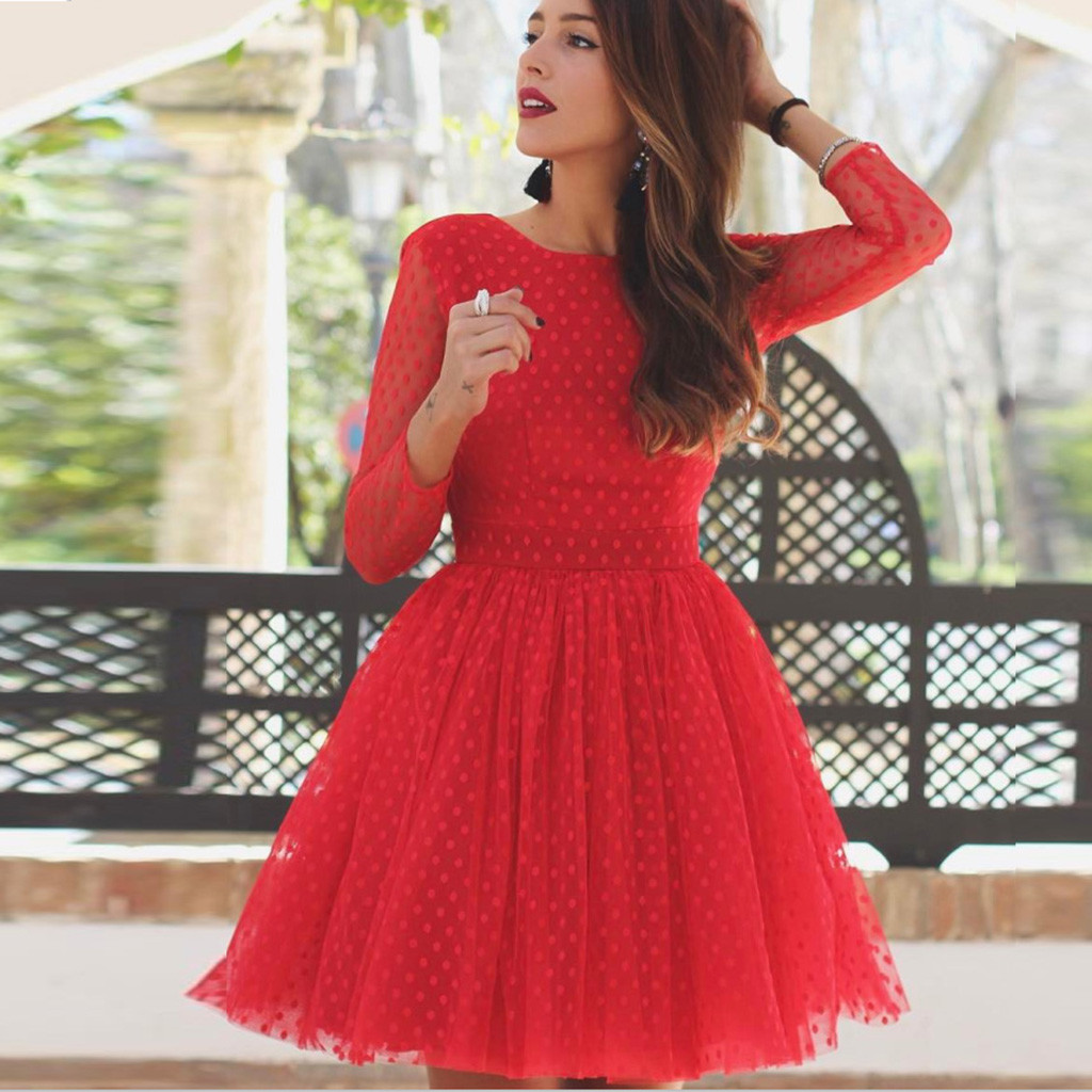 JAYCOSIN New Fashion Women Solid Color Round Neck Long Sleeve Generous Cute Evening Party Open Back Dress 2020 A#