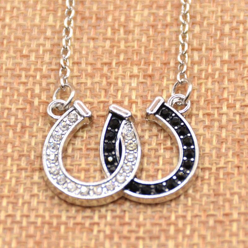 product 1 Pc Lucky Rhinestone Double Horse Hoof Horseshoe Pendant Necklace Jewellery Black White