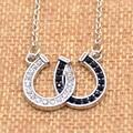 1 Pc Lucky Rhinestone Double Horse Hoof Horseshoe Pendant Necklace Jewellery Black White