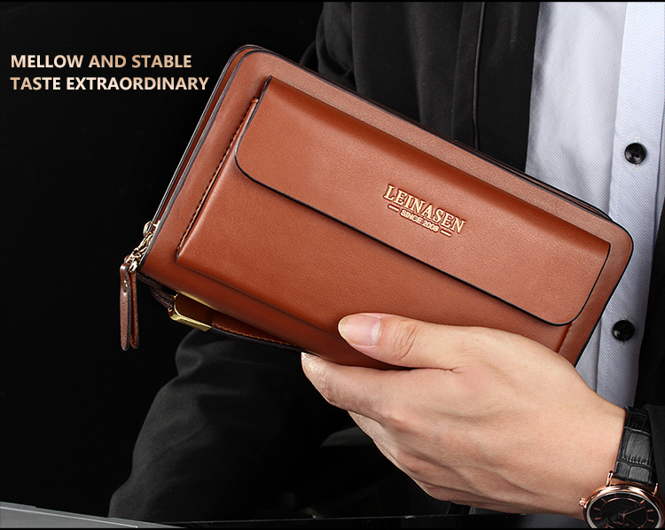 Topdudes.com - Luxury Business Portfolio Double Zipper Multifunctional Wallet with Clutch Coins Pocket