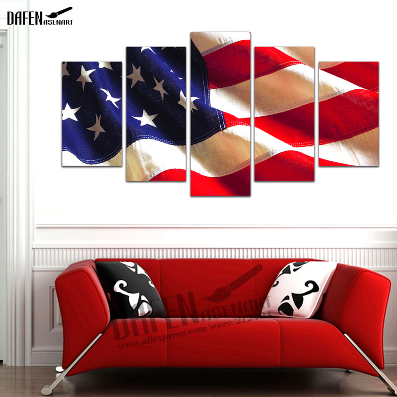 Framed Artwork Wall Picture HD Canvas Prints 5 Piece American Flag Painting Home Decoation for Living Room Over Sofa or Bed