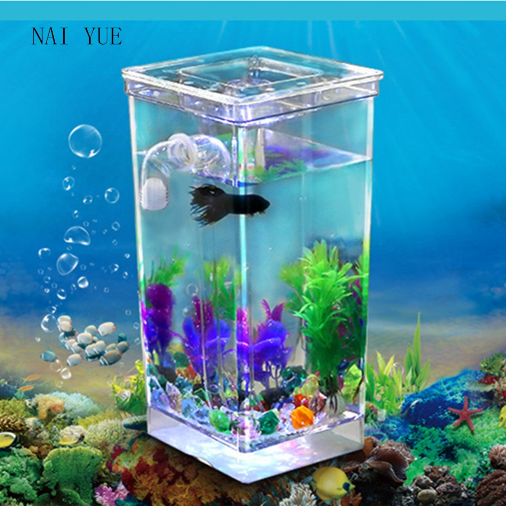 Small aquarium fish tanks - New Goldfish Filter Tank Self Cleaning Small Desktop Fish Tank Aquarium Free Water Fish Tank