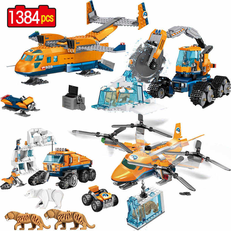 1384pcs Creator City Building Blocks Arctic Scout Truck Air Transport Supply Model Technic Bricks Figures Toys for Children GB16