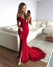 Red Elegant Formal Evening Dresses 2019 Evening Gowns Long Sexy Slit Prom Dress Special Occasion Dresses Robe De Soiree стоимость