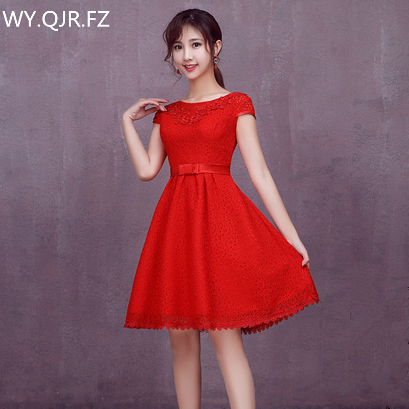 LYG Q33#Wholesale cheap new 2018 Chinese red short Bridesmaid ...