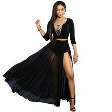 Adogirl Special Black Women 2 Piece Slit Maxi Skirt Set 3/4 Sleeve Crop Top And Long Skirt Suit Sexy Club Ensemble Jupe Et Haut