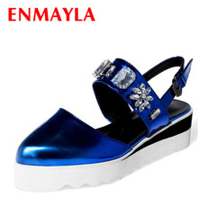 Airfour Summer Shoes Woman Rhinestone Med Heel Casual Women Closed Toe Buckle Strap Crystal Wedges Platform Sandals