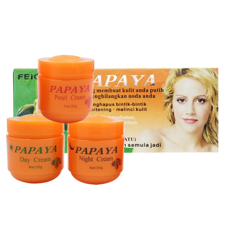 3pcs Papaya Whitening Creams Set Moisturizing Dilute Freckles Lightening Pigment Face Whitening Essence