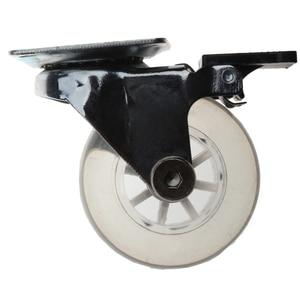 Image 2 - 4 قطعة من البلاستيك المسطح الشفاف 2 بوصة عجلة العجلات الثقيلة مع الفرامل لكرسي مكتب عجلات دوارة