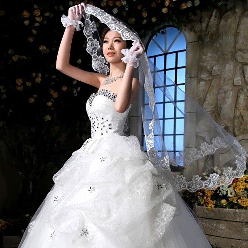 Elegant 1 Layer White/Ivory Tulle Elbow Lace Edge Bride Bridal Wedding Long Veil