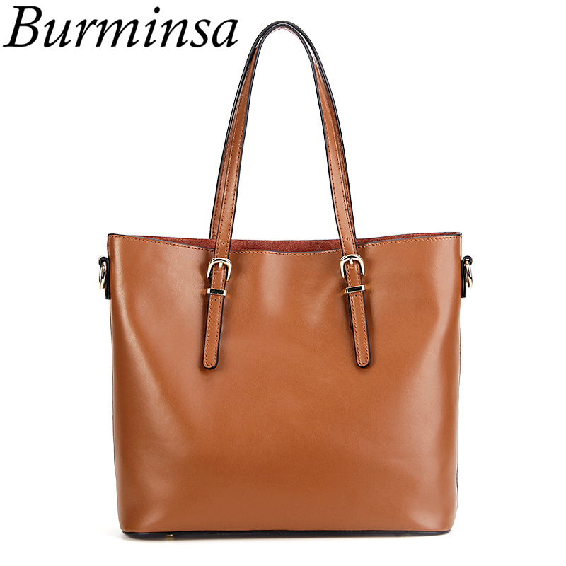Burminsa Brand Women Genuine Leather Bags Vintage Tote Handbags Large Capacity Shopping Bags Ladies Shoulder Messenger Bags 2017 forudesigns casual women handbags peacock feather printed shopping bag large capacity ladies handbags vintage bolsa feminina